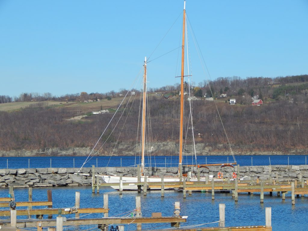 A Lone Sailboat at Watkins Glen Harbor